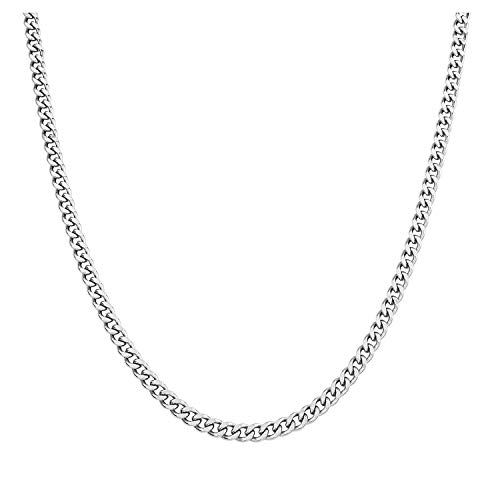AmyRT 3.8mm Stainless Steel Hip Hop Curb Chain Necklace Cubic Cuban Link Silver Chain for Men Women 18