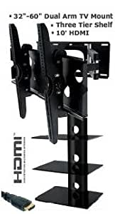 """Combo Tv Wall Mount Bracket for All 32"""" - 60"""" Televisions Plus 3 Tier Component Shelf for Cable Receiver Dvd Player Ect. Dual Arm Full Motion Tv Mount Fits All Model Televisions 32 35 37 40 42 45 47 50 52 55 58 60 Included Frr 10' Hdmi Cable"""