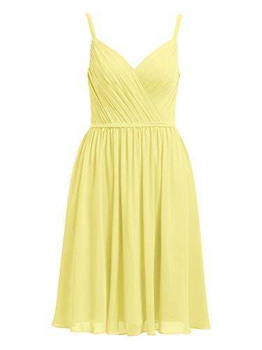 Spaghetti Alicepub Dress Short Cocktail Yellow Party Chiffon Bridesmaid Dresses Evening rqCBSIq