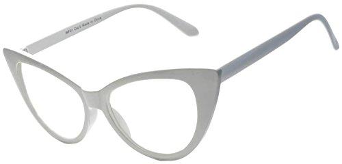 [Stylish Cat Eye Vintage Clear Lens Sunglasses White Frame OWL] (White Cat Eye Glasses)