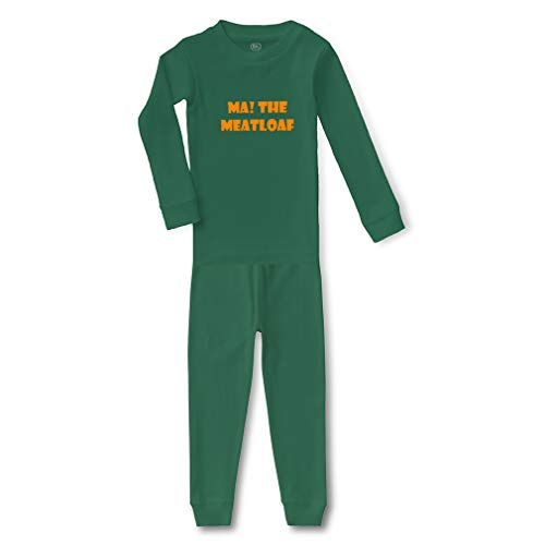 Ma! The Meatloaf Cotton Crewneck Boys-Girls Infant Long Sleeve Sleepwear Pajama 2 Pcs Set Top and Pant - Kelly Green, 2T