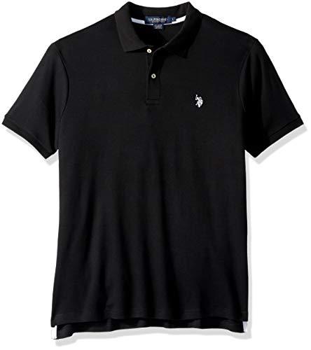 (U.S. Polo Assn. Men's Classic Fit Solid Short Sleeve Interlock Polo Shirt, Black, L)