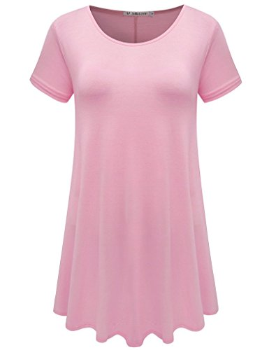 JollieLovin Women's Short Sleeve Loose Fit Flare Hem T Shirt Tunic Top (Pink, - Fleece Pink Top