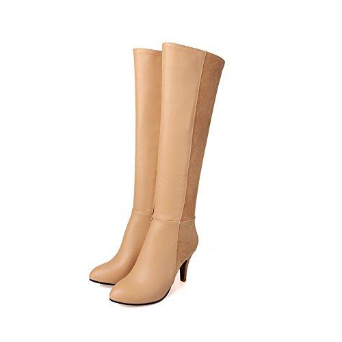 AgooLar Damen Hoher Absatz Blend-Materialien Knie Hohe Stiefel, Schwarz, 35