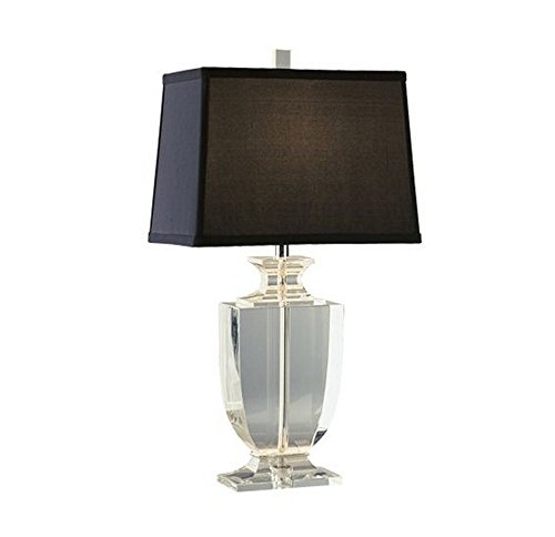 Robert Abbey 3329B Lamps with Rectangular Black Dupioni Silk Shades, Clear Crystal/Silver Plate Accents Finish, 20.5