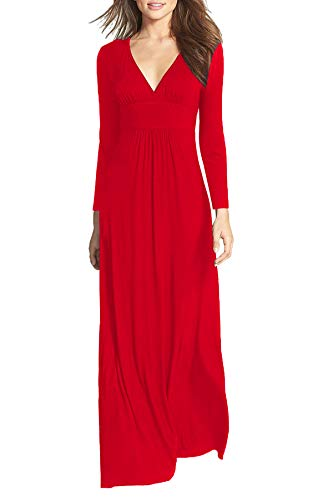 Casual WOOSEA Deep Maxi V Red Neck Long Plain Women Long Dress Sleeves Loose wvqw4xHaAB