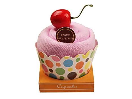 Yter Cake Toalla Cupcake Toalla Caja Guantes de baño Suave Rostro Toalla Baby Shower Toalla de Navidad Cadeau-Violet: Amazon.es: Hogar