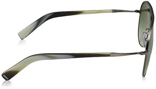 Tom Ford FT0448 C56 14P: Shiny Light Ruthenium / Horn