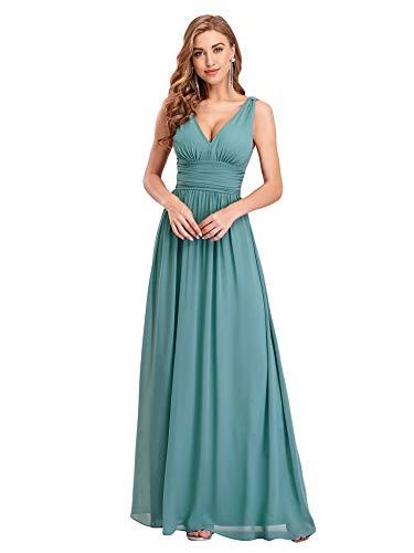 Ever-Pretty Dames V Hals Empire Taille Elegant Vloerlengte Chiffon Mouwloze Galajurken 09016