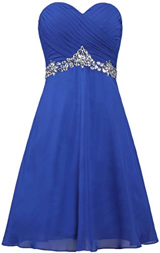 (ANTS Strapless Crystals Chiffon Cocktail Dresses Short Evening Dress Size 10 US Royal Blue)