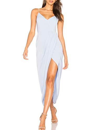 (cmz2005 Women's Sexy V Neck Backless Maxi Dress Sleeveless Spaghetti Straps Cocktail Party Dresses 71729 (S, Sky Blue))