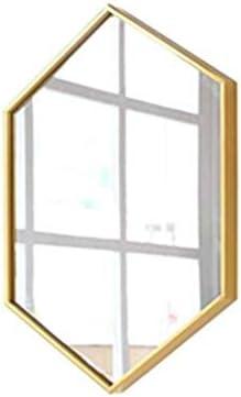 XZGang ゴールデン浴室鏡、ポリゴンメタル表ミラーシンプル北欧スタイル別デコラティブミラー大型エントランスフルレングスミラー 超クリア (Color : Gold, Size : 40*60CM)