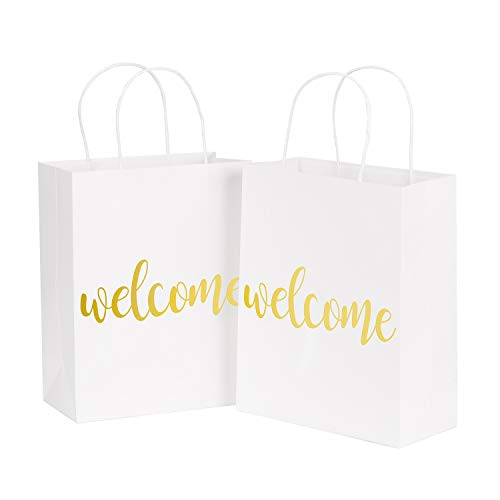 LaRibbons Medium Welcome Gift Bags - Gold Foil White Paper Bags with Handles for Wedding, Birthday, Baby Shower, Party Favors - 12 Pack - 8