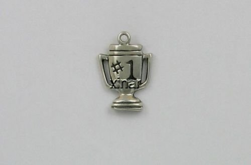 Sterling Silver Number One Trophy Charm - Jewelry Accessories Key Chain Bracelet Necklace Pendants