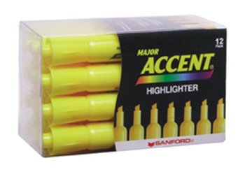 21 Pack NEWELL CORPORATION HIGHLIGHTER MAJOR ACCENT YELLOW by Newell (Image #1)