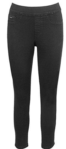 Nine West Heidi Black Twill Pull On Skinny Cropped Jeans Pants - Twill Capri Cuffed