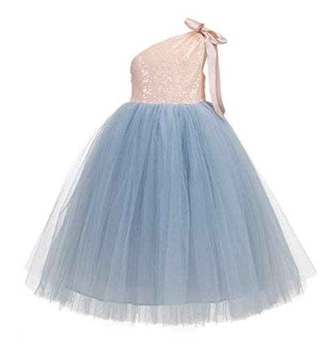 (ekidsbridal One-Shoulder Sequin Tutu Flower Girl Dress Wedding Pageant Dresses Ball Gown Tutu Dresses 182 6)
