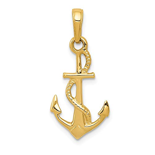 - 14k Yellow Gold Solid 3 Dimensional Nautical Anchor Ship Wheel Mariners Pendant Charm Necklace Sea Shore Man Fine Jewelry Gift For Dad Mens For Him
