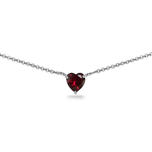 (Sterling Silver Created Ruby 7x7mm Heart Shaped Dainty Choker Necklace)