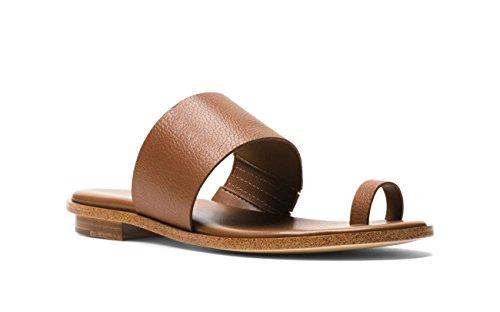 Michael Michael Kors Women's Sonya Leather Toe Ring Flat Sandal (9 M US, (Toe Ring Flat Sandals)