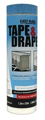 Trimaco 949560 Easy Mask Tape & Drape Pre-Tape Masking Film with 14 day Blue PerfectEdge Tape, 1.2m x 22m
