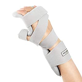 REAQER Resting Hand Splint Night WristThumb Immobilizer Support for Pain Tendinitis Sprain Fracture Arthritis Dislocation (Right)