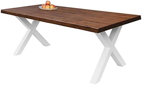 120x75 cm Patas de Acero X-Forma Blancas COMIFORT Mesa de Comedor Mueble para Salon Oficina Despacho Robusto y Moderno de Roble Macizo Color Chicago con Lado Ondulado