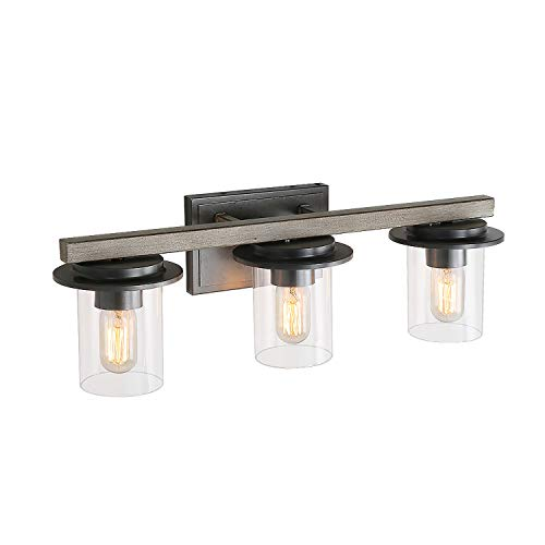 LALUZ 3-Lights Faux Wood and Distressed Black Finishes Bathroom Vanity Fixture with Clear Glass, 24 inches