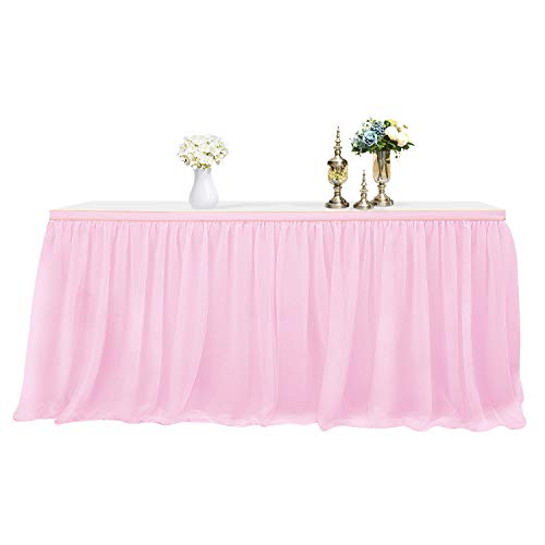 MineSha Gold BrimTulle Table Skirt Pink Tutu Table Skirt for Rectangle or Round Table Tulle Tableware for Party,Wedding,Birthday Party Home Decoration ()