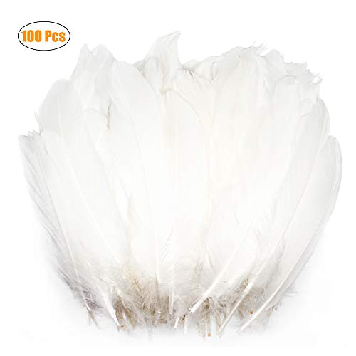 WELLGO 100 Pcs White Glitter Feather Goose Real Feather Christmas Decoration Natural Craft Art Soft Native Feather Accessories for Christmas, DIY, Party, Wedding, Dream Catcher -