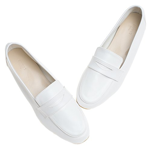 AnnaKastle Womens Soft Leather Casual Penny Loafer Flat Slip On Shoes White dvWfekRt