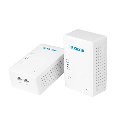 (HEXICOM Av 500 Mbps Powerline Adapter with WiFi (Both with WiFi Support) Kit with IPTV Homeplug Bridge PLC 2 LAN)