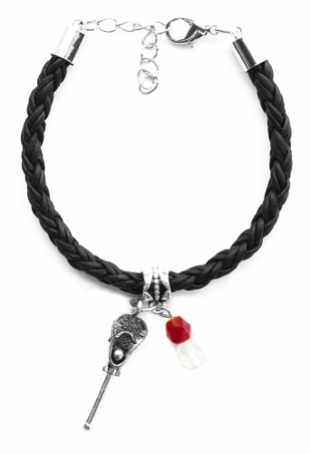 ''Lacrosse Stick & Ball'' Braided Leather Lacrosse Bracelet (Team Colors Crimson & White) by AttitudeArcade