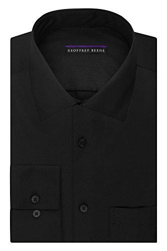 Geoffrey Beene Mens Suit - Geoffrey Beene Men's Regular Fit Sateen Solid Dress Shirt, Black, 16.5