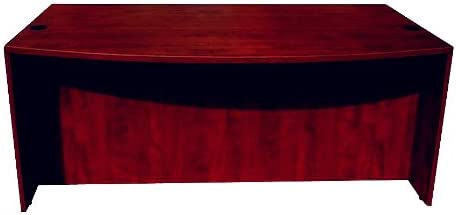 Boss Office Products Bow Front Desk Shell in Mahogany