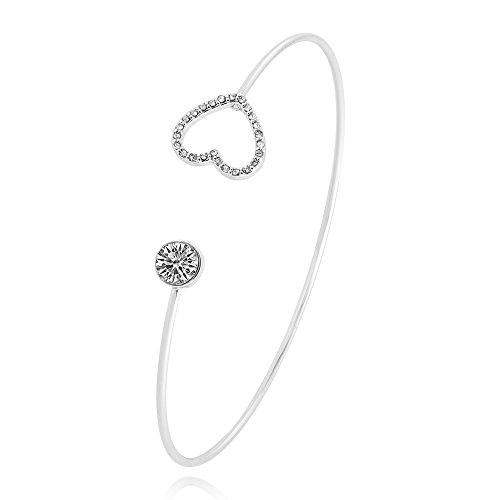 SENFAI Full Rhinestone Heart Moon Geometric Figure Open Bangle and Bracelet for Girls (Heart ()