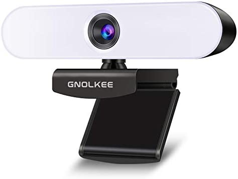Webcam with Light, Gnolkee FHD 1080P USB Web Camera with 3-Level Adjustable Fill Light, Built-in Digital Microphone and Low-Light Correction, Compatible with Most Systems and Software [2020] (1080P)