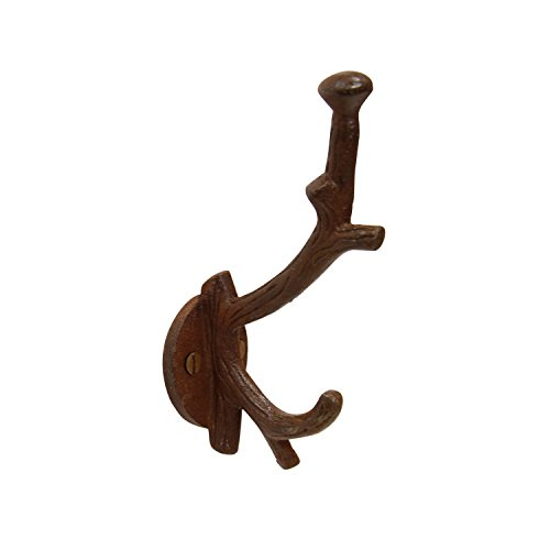RCH Hardware 8392RST Tree Branch Twig Shaped Cast Iron Double Arm Organizing Wall Hook, Matching Screws Included (Rust)