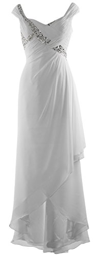 MACloth Elegant V Neck High Low Mother of Bride Dress Maxi Chiffon Formal Gown Blanco