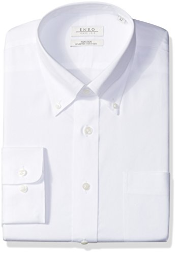Enro Men's Classic Fit Big-Tall Solid Button Down Collar Dress Shirt, White, 19
