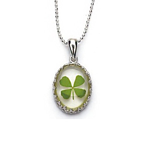 stainless-steel-real-irish-four-leaf-clover-clear-oval-shaped-pendant-necklace-16-18-inches