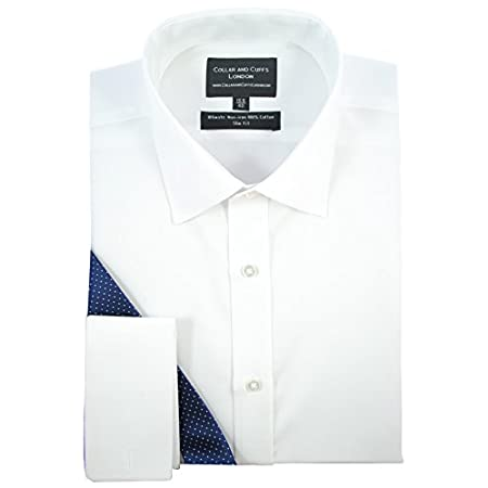 COLLAR AND CUFFS LONDON – Non-Iron – Premium 100% Pure Cotton – Fit Guaranteed – Twill Fabric – Men's Shirt – Long Sleeve – White – Slim Fit, Double Cuff – Plain Pattern 310CAFQqGeL