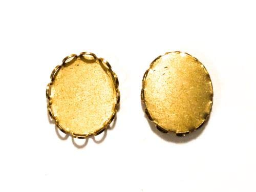 - Qty 24 - Lace Edge 12x10mm Raw Brass Oval Bezel Cup Cabochon/Charm Settings