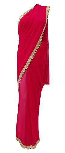 Indian Georgette Saree Solid Beaded Fashion Lace Sari With Blouse