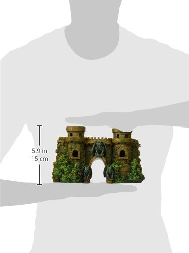Blue Ribbon Exotic Environments Castle Fortress with Gargoyles Aquarium Ornament, 10-Inch by 3-1/2-Inch by 5-1/2-Inch
