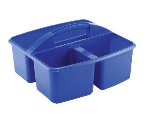 ECR Small 3 Compartment Plastic School Art Caddy, Blue (1...
