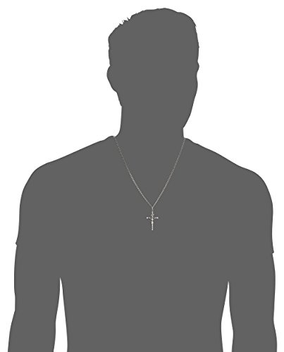 Men's Sterling Silver Crucifix Pendant Necklace with Stainless Steel Chain, 24""