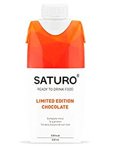 Meal Replacement Drink Saturo, Chocolate, Nutritional Shake with Protein, 26 Essential Vitamins and Minerals, 11.1 oz Bottles, 8 Pack