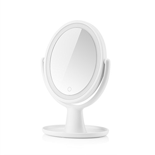 Tenmix Oval-Shaped Double-sided Lighted Makeup Mirror, 1x/5x Magnification, Dimmable Light, Battery Operated, 13.5 Inches Height Large Vanity Mirror with LED Lights for Cosmetic Skincare