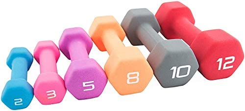 Cap Color Neoprene Dumbbell for Muscle Toning, Strength Building, Weight Loss - Portable Weights for Home Gym Non-Slip and Hex Shape - Sold by Pairs 5